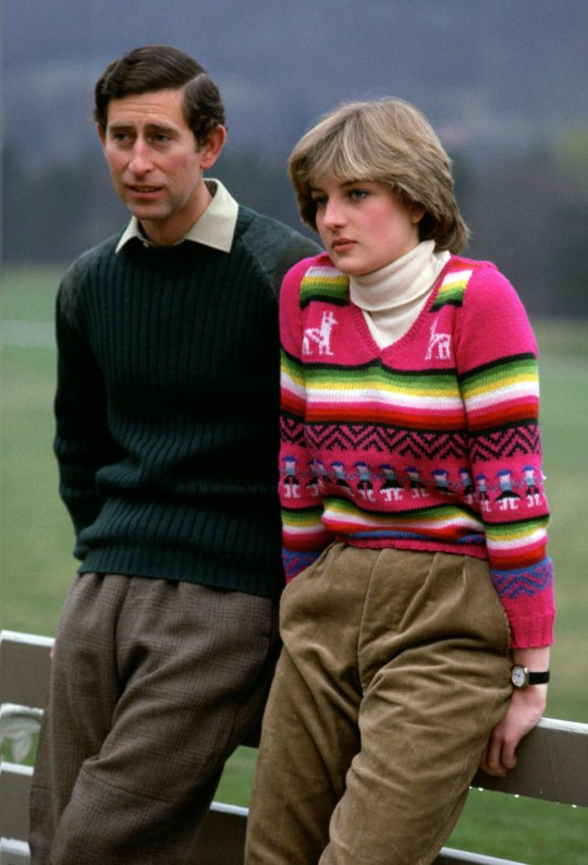 UNITED KINGDOM - MAY 06: Prince Charles, Prince of Wales with his fiance Lady Diana Spencer during a photocall before their wedding while staying at Craigowan Lodge on the Balmoral Estate in Scotland (Photo by Tim Graham Photo Library via Getty Images)