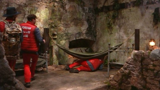 Shane Richie falling out of a hammock