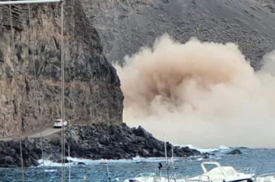Huge chunk of cliff falls
