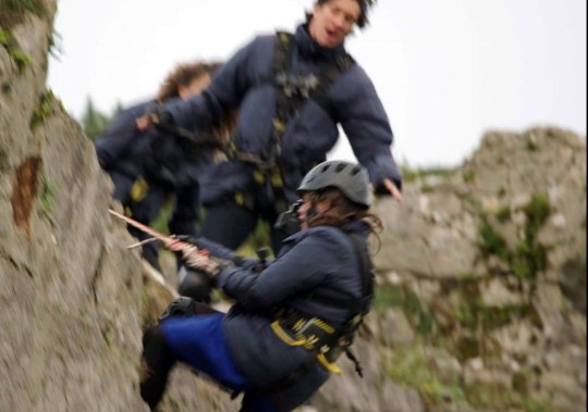 Giovanna Fletcher ABSEILING AS VERNON KAY WATCHES ON