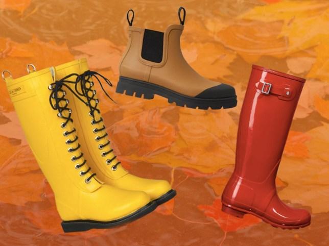 Three wellington boots on an orange leaf background