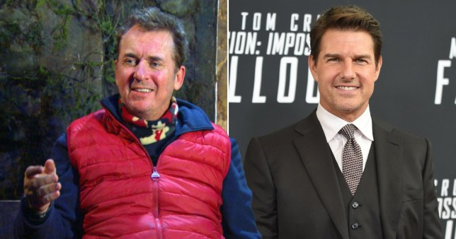 Shane Richie pictured on I'm A Celebrity alongside Tom Cruise on red carpet
