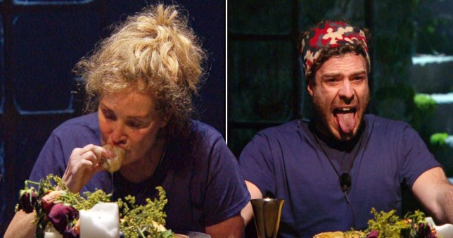 Beverley Callard and Jordan North during I'm A Celebrity's eating trial