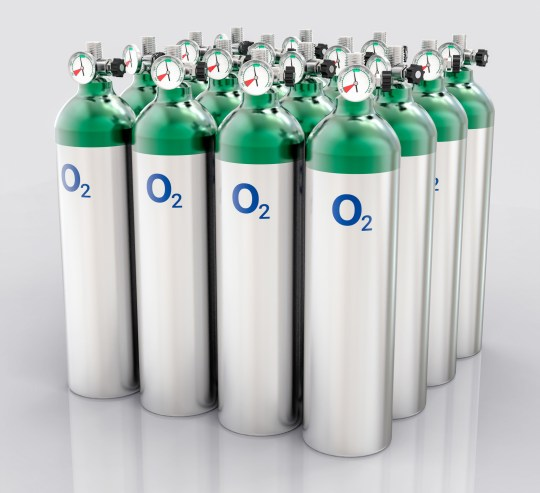 3D Isolated Oxygen Tank. Hospital equipment illustration.; Shutterstock ID 393638710; Purchase Order: -