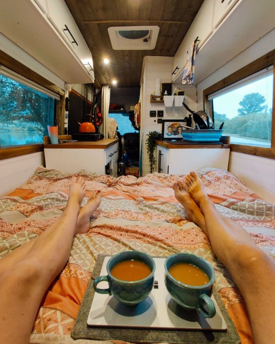 the van has a large king size bed