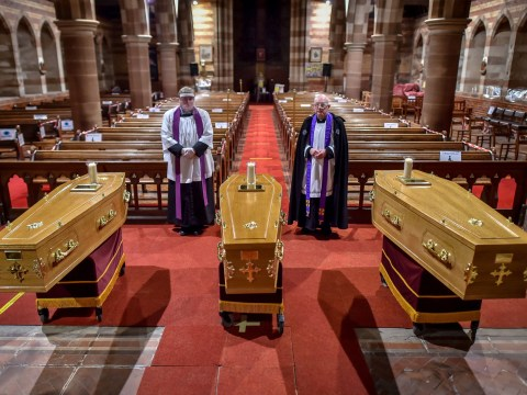Three coffins lay side by side after mother and two sons died from Covid within days of each other