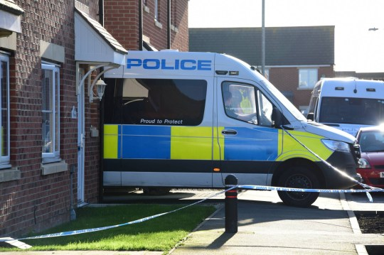 Police at the scene in the village of Linton, in Northumberland