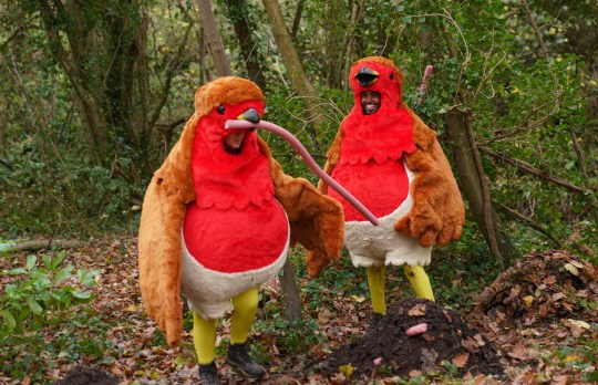 Mo Farah and Victoria Derbyshire dressed as robins on I'm A Celebrity