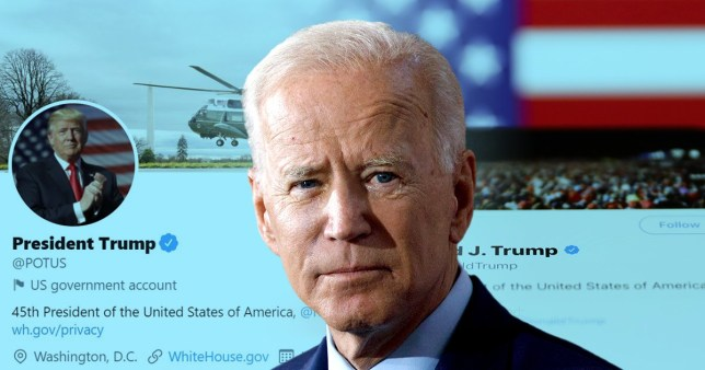 Joe Biden's face in front of a screenshot of Donald Trump's Twitter account