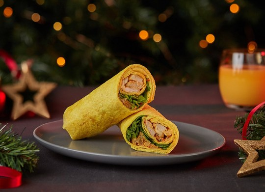 Within Tesco's Christmas sandwich range is a turkey curry and onion bhaji wrap.