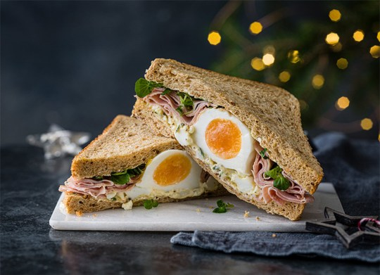 The Christmas range from M&S food includes the new Truffle Egg & Honey Roast Ham sandwich.