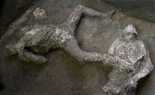 The casts of the two men found at Pompeii