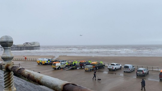 Emergency services at Blackpool pier