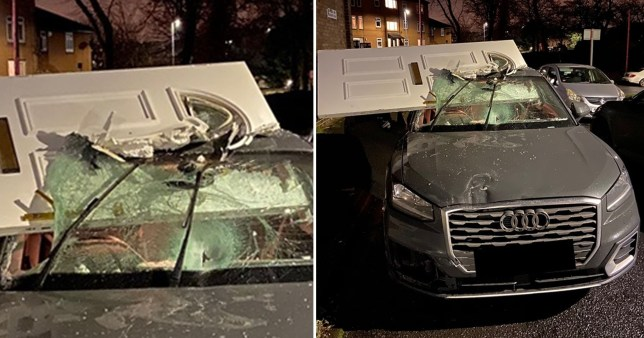 Composite image of an audi with a front door wedged in the windscreen