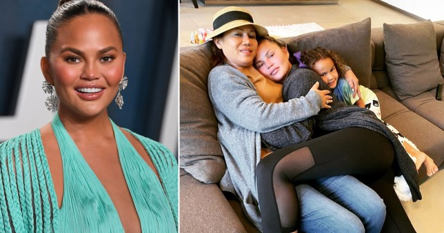 Chrissy Teigen pictured at Oscars and being cuddled by her mum on sofa