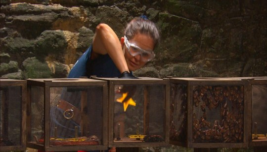STRICT EMBARGO - NO PUBLICATION BEFORE 22:20 GMT Sunday 22nd November 2020. Editorial use only Mandatory Credit: Photo by ITV/REX (11028582av) Trial, Bar-Baric - Giovanna Fletcher 'I'm a Celebrity... Get Me Out of Here!' TV Show, Series 20, Show 8, Gwrych Castle, Wales, UK - 22 Nov 2020
