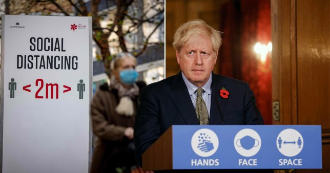 Boris Johnson in compilation image with social distancing sign.