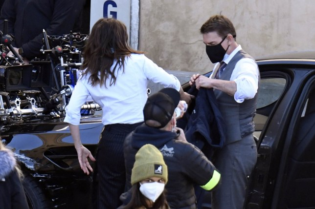Tom Cruise and Hayley Atwell filming an action scene on Mission Impossible 7 set in Rome+1 888 505 6342