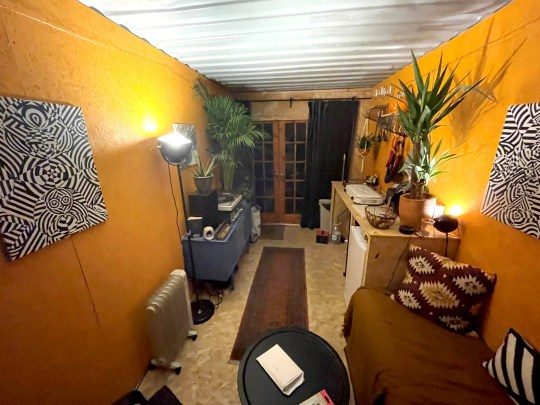 Inside Jay Adler's shipping container - photo from bed