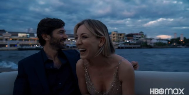 Actress Kaley Cuoco and The Flight Attendant co-star Michiel Huisman