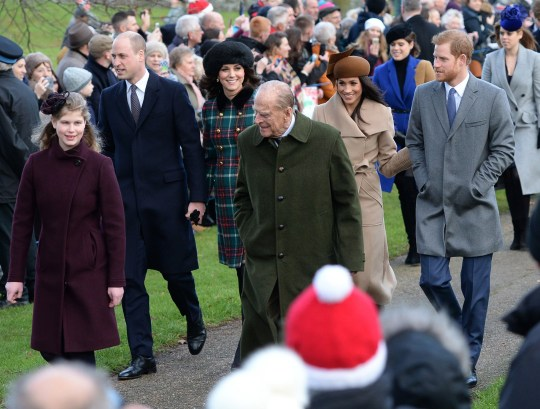 File photo dated 25/12/2017 of (left-right front) Lady Louise Windsor, the Duke of Edinburgh, (left-right centre) The Duke and Duchess of Cambridge, Meghan Markle and Prince Harry arriving to attend the Christmas Day morning church service at St Mary Magdalene Church in Sandringham, Norfolk. The Queen's royal Christmas will be a very different affair this year. Traditionally, the royal family descend en masse to the Sandringham estate for a festive stay with the monarch. But, like the rest of the nation, the Queen and her relatives will have to carefully chose who to have in their Christmas bubble, and where to stay. PA Photo. Issue date: Thursday November 26, 2020. See PA story ROYAL Christmas. Photo credit should read: Joe Giddens/PA Wire