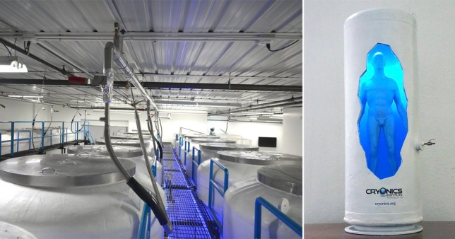 Tanks storing human bodies at the Cryonics Institute facility in Michigan (Picture: SWNS)