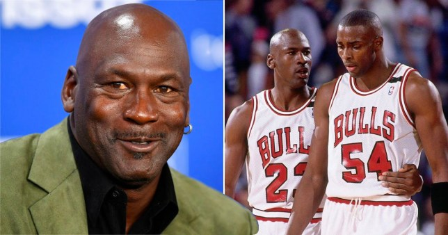 Michael Jordan at press conference and pictured playing basketball in The Last Dance