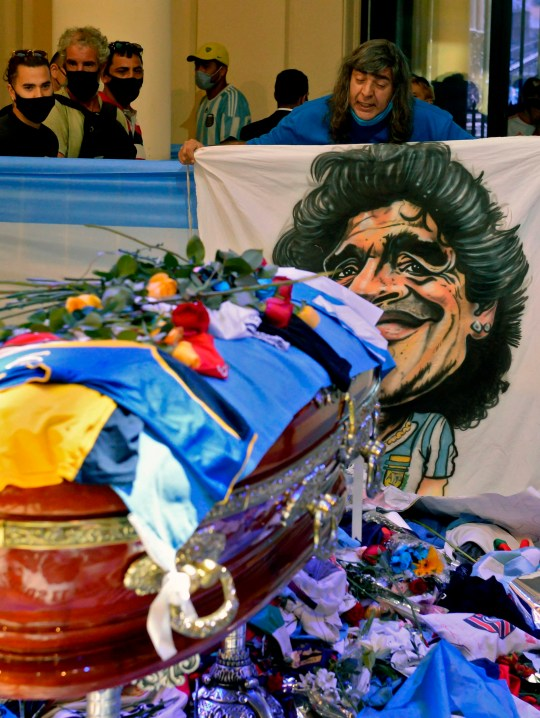 Thousands of mourners visited Diego Maradona's coffin on Thursday