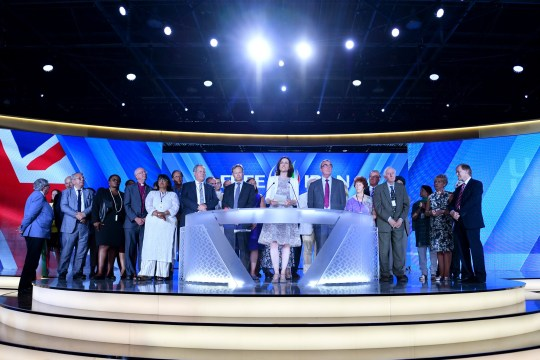 PARIS, FRANCE - JUNE 30: Theresa Villiers MP speaks as the British delegation appear on stage during the Conference In Support Of Freedom and Democracy In Iran on June 30, 2018 in Paris, France. The speakers declared their support for the Iranian peoples uprising and the democratic alternative, the National Council of Resistance of Iran and called on the international community to adopt a firm policy against the mullahs regime and stand by the arisen people of Iran. (Photo by Anthony Devlin/Getty Images)