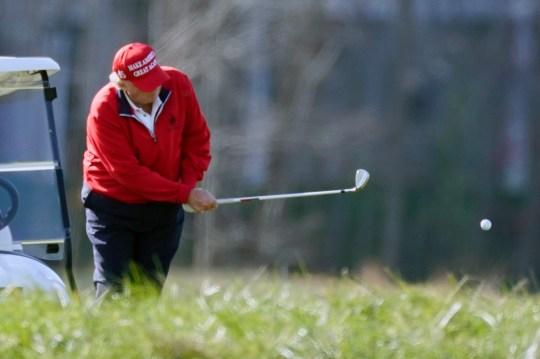 President Donald Trump plays golf at Trump National Golf Club,