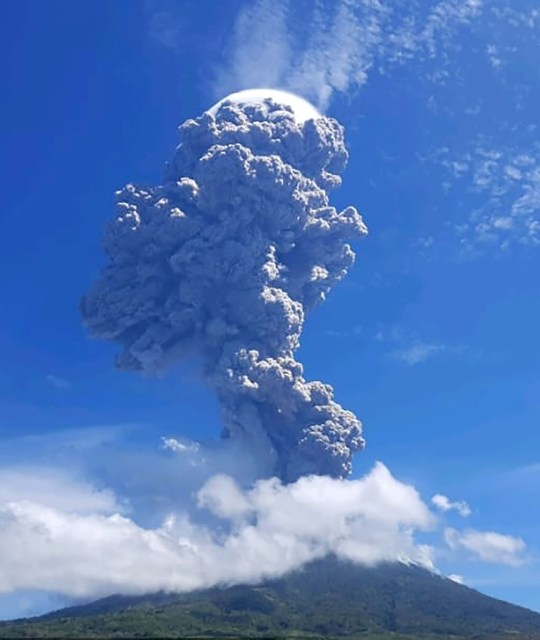 A volcanic eruption from Mount Ili Lewotolok in Lembata, East Nusa Tenggara