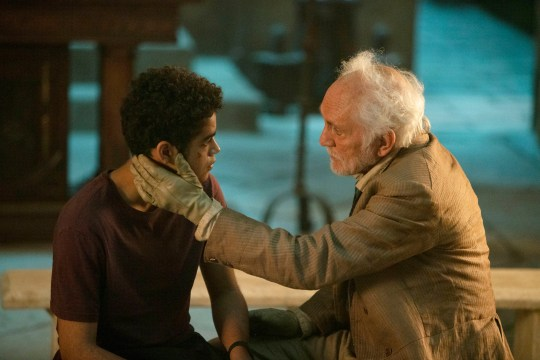 Amir Wilson and Terence Stamp in His Dark Materials
