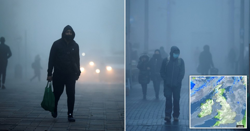 Pedestrians, some wearing a face mask or covering due to the COVID-19 pandemic, walk in the early morning fog in Walthamstow, east London on November 27, 2020. - Britain on Wednesday unveiled plans for more massive state spending despite soaring debt on coronavirus fallout, including pay rises for nurses to support the ravaged economy as the nation embarks on its post-Brexit future. The UK economy, which tanked into a historic recession owing to pandemic fallout, was forecast to rebound by 5.5 percent next year and by 6.6 percent in 2022. (Photo by Tolga Akmen / AFP) (Photo by TOLGA AKMEN/AFP via Getty Images)
