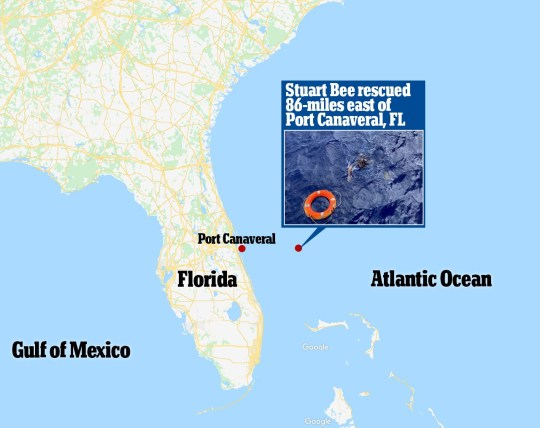 8999883 Missing man is found alive clinging to his capsized boat 86 miles off the coast of Florida