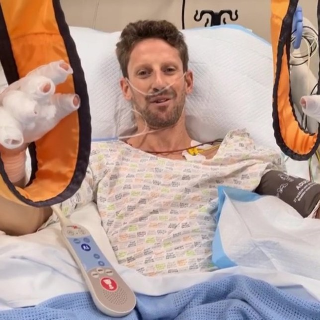 F1 star Romain Grosjean speaks from his hospital bed after his crash at the Bahrain Grand Prix