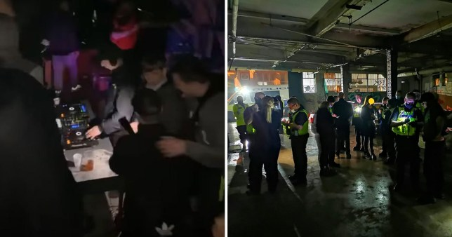 Hundreds shown crammed into illegal rave in Birmingham warehouse SWNS