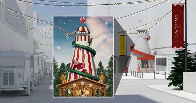 A mock up of Selfridges' new Christmas market in Marylebone, London
