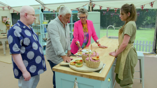 Matt Lucas, Paul Hollywood, Prue Leith and Lottie Bedlow on the Great British Bake Off