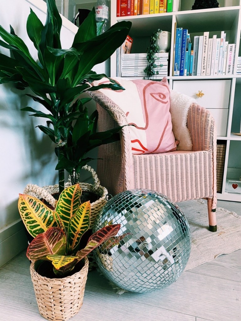 What I Rent: Rosie, Southsea - pink chair, plants, disco ball