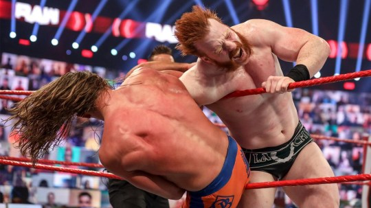 WWE superstars Riddle and Sheamus on Raw