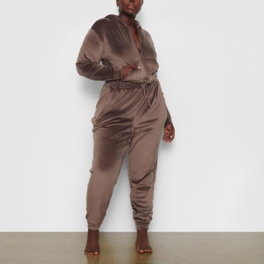 Brown velour tracksuit by SKIMS