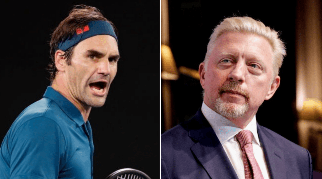 Tennis stars Roger Federer and Boris Becker look on