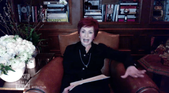 Sharon Osbourne appearing on The Talk from home