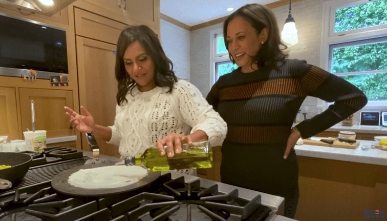 Mindy Kaling and Kamala Harris cooking together