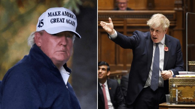 Donald Trump at a golf course in Virginia on the day it was announced he lost the 2020 US presidential election (left) and Boris Johnson at PMQs on November 11, 2020, in which he referred to Trump as the 'previous president'