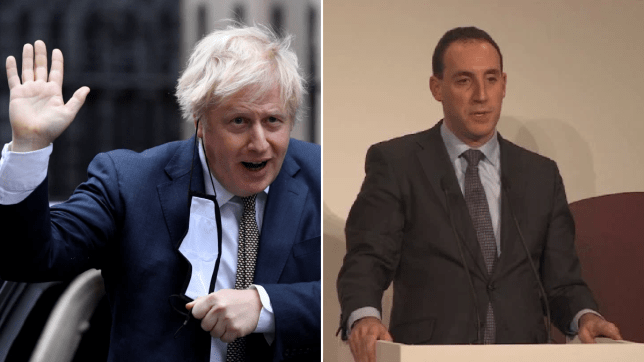 The Prime Minister's newly appointed chief of staff Dan Rosenfield (left) and Boris Johnson