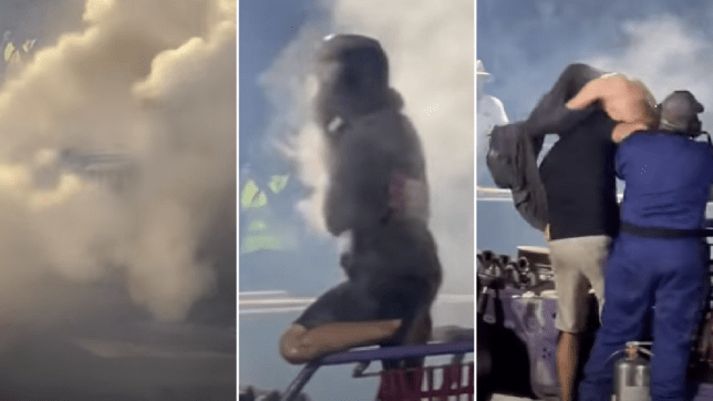 Burnout driver is badly scalded during YouTuber's event