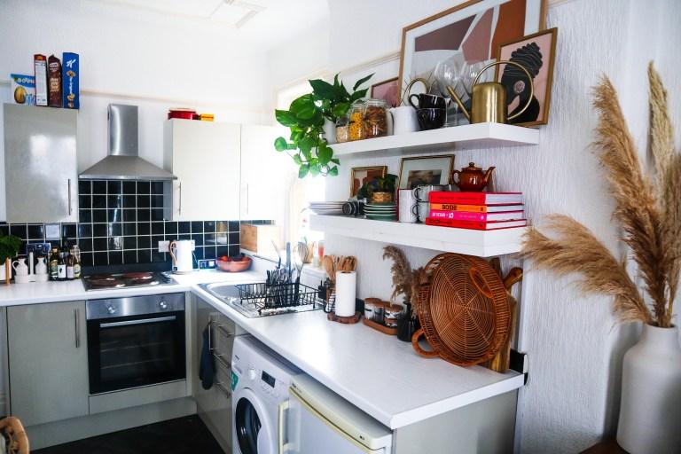 beverley's kitchen in her one-bedroom flat