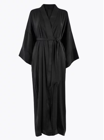 satin long dressing gown m&s