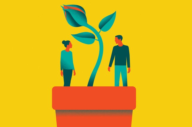 illustration of a couple in a plant pot, to represent a growing relationship